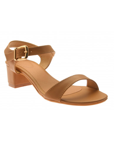 T-331: Balujas Beige Block Heel Ladies Sandals