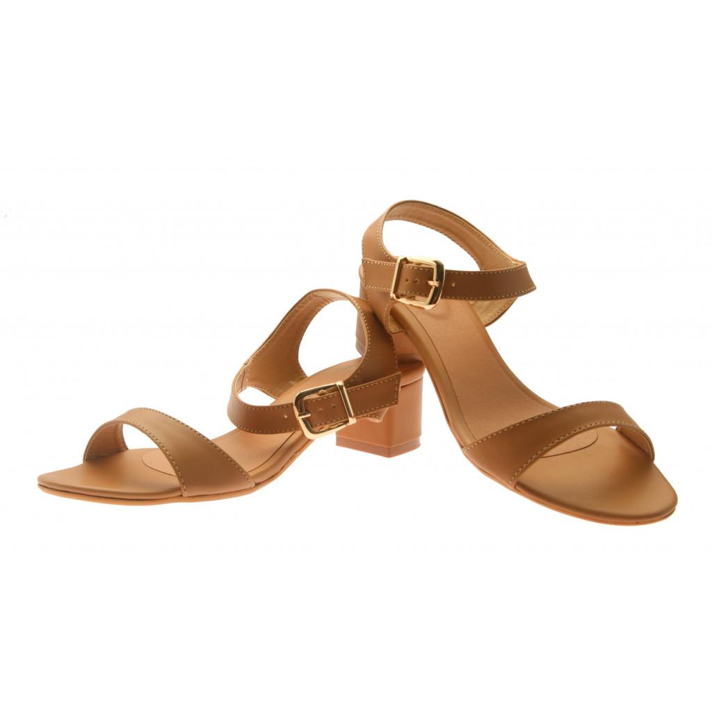 T-331: Balujas Beige Block Heel Ladies Sandals