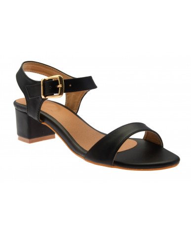 T-331: Balujas Black Block Heel Ladies Sandals