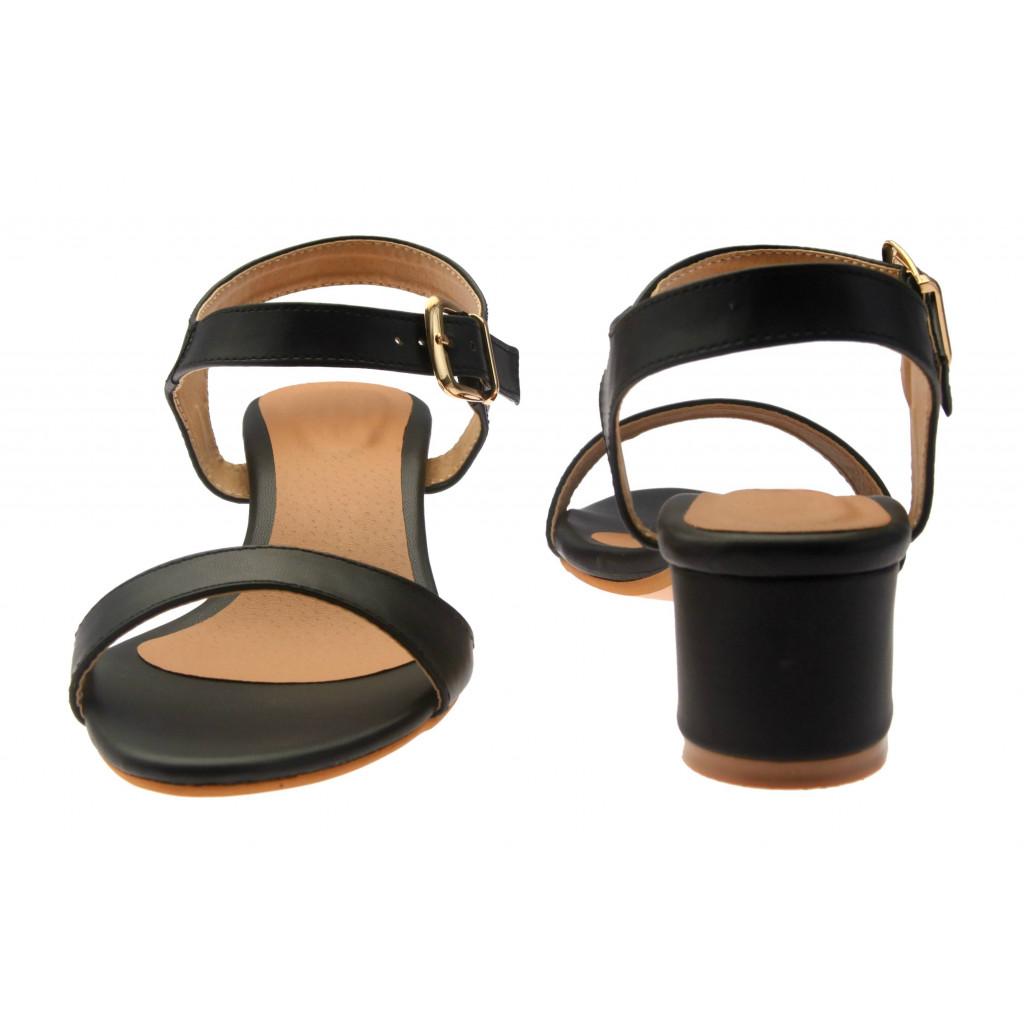 T-331: Balujas Black Block Heel Ladies Sandals