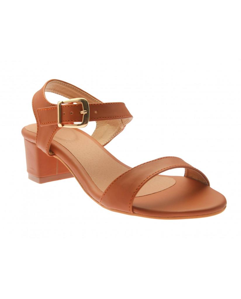 T-331: Balujas Tan Block Heel Ladies Sandals