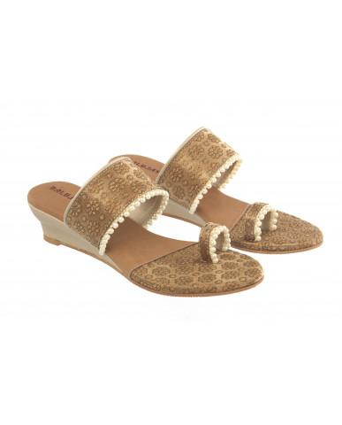 HB-2008 : Balujas Gold Heel Slip-on