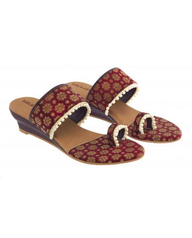 HB-2008 : Balujas Mahroon Heel Slip-on