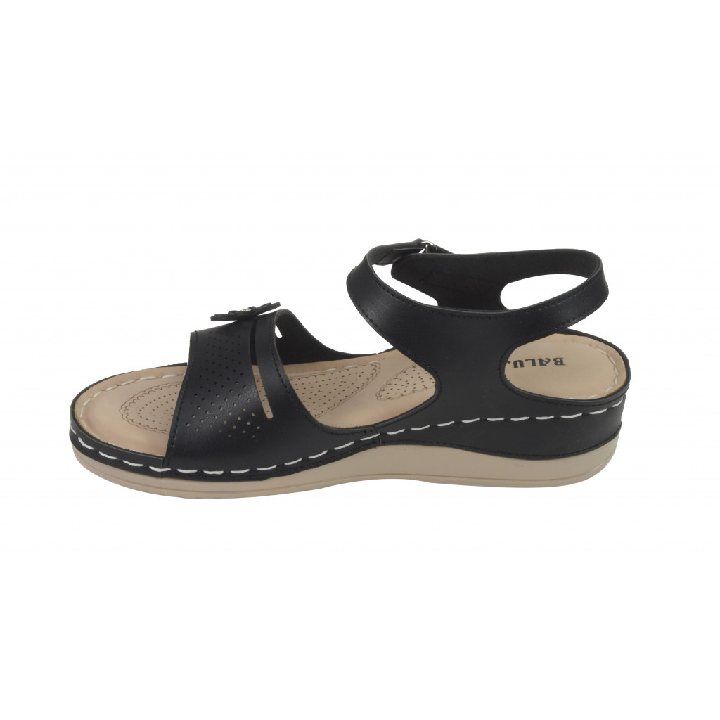 A-4: Balujas Black Flat Sandals