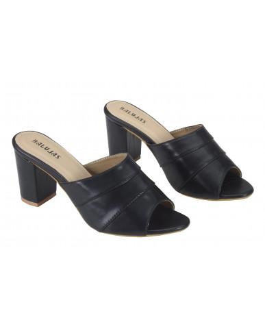 1803: Balujas Black Block Heel Ladies Slippers