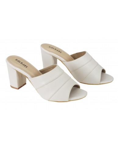 1803: Balujas Cream Block Heel Ladies Slippers