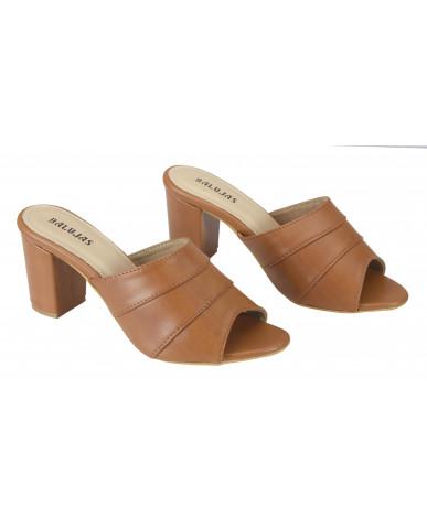 1803: Balujas Tan Block Heel Ladies Slippers
