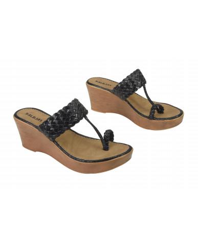2065: Balujas Black Wedge Heel Ladies Chappal