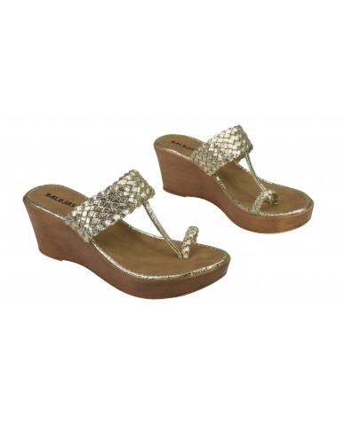 2065: Balujas Gold Wedge Heel Ladies Chappal