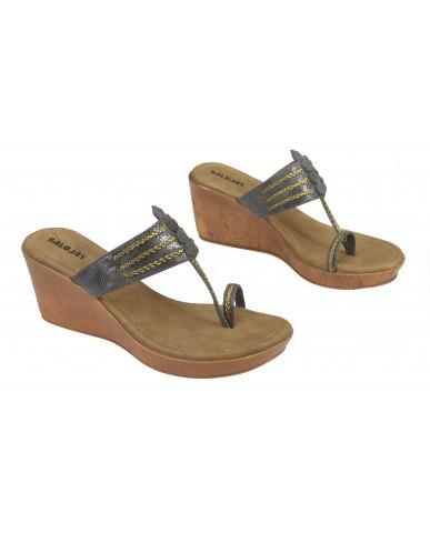 A-2062: Balujas Grey Wedge Heel Ladies Chappal