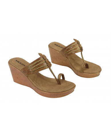 A-2062: Balujas Tan Wedge Heel Ladies Chappal