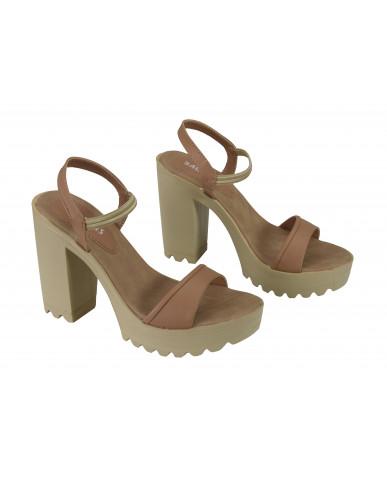 G-224 : Balujas Beige Block Heel Ladies Sandals