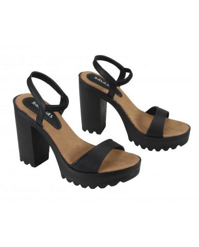 G-224 : Balujas Black Block Heel Ladies Sandals