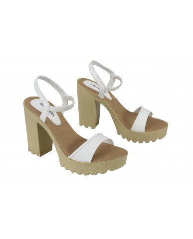 G-224 : Balujas White Block Heel Ladies Sandals