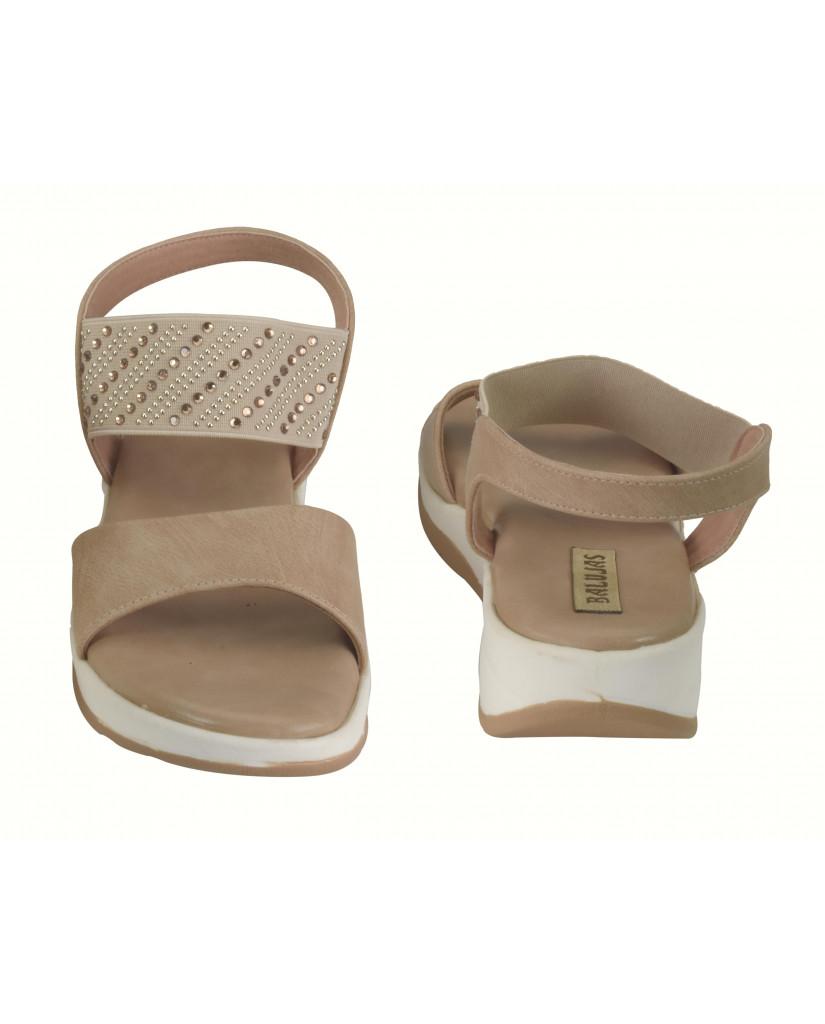 S12-162 : Balujas Beige Flat Sandals