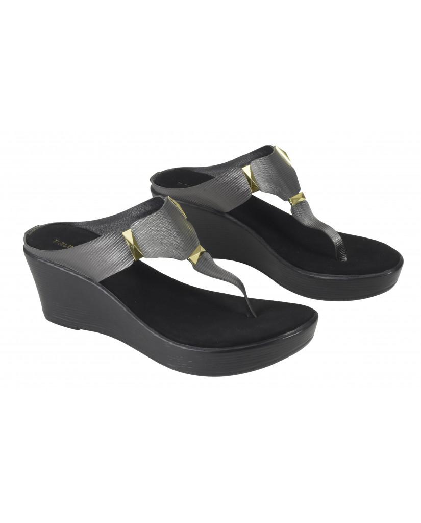 135 : Balujas Black Wedge Heel Ladies Slippers