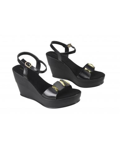 1804 : Balujas Black Wedge Heel Ladies Sandals