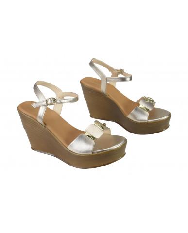 1804 : Balujas Gold Wedge Heel Ladies Sandals