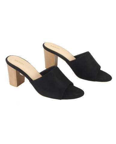 806: Balujas Black Block Heel Ladies Slippers