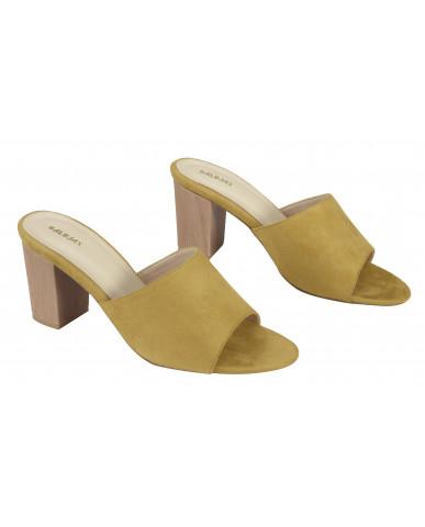 806: Balujas Mustard Block Heel Ladies Slippers