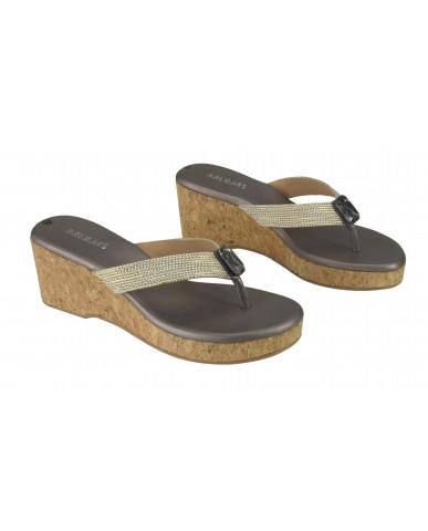 3186: Balujas GunMetal Wedge Heel Ladies Chappal