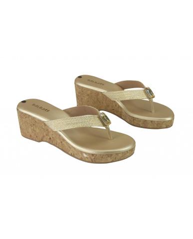 3186: Balujas Gold Wedge Heel Ladies Chappal