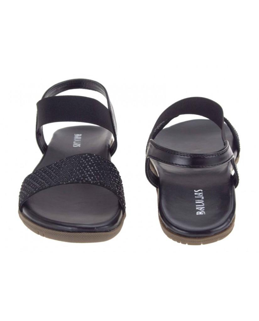 B-3024: Balujas Black Flat Ladies Sandals
