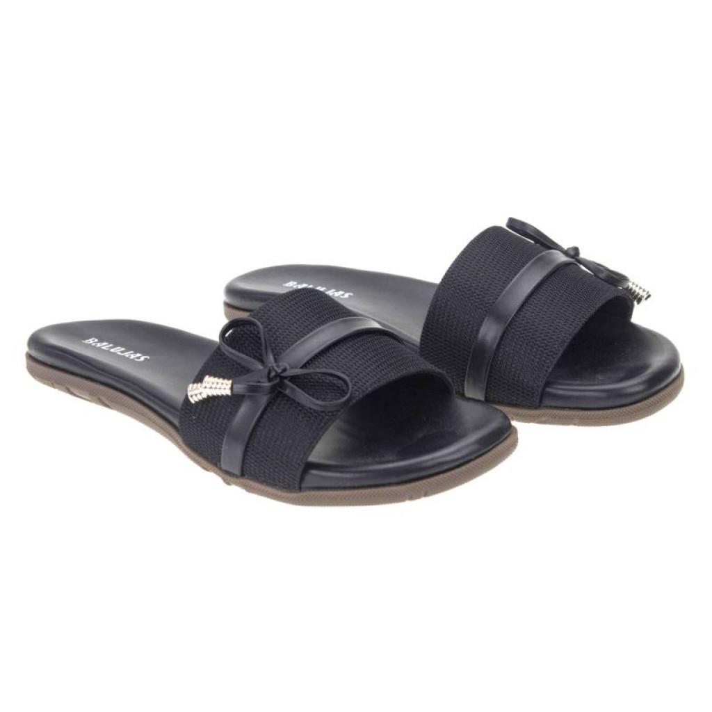 2506-DP : Balujas' Black Ladies Flat Chappal