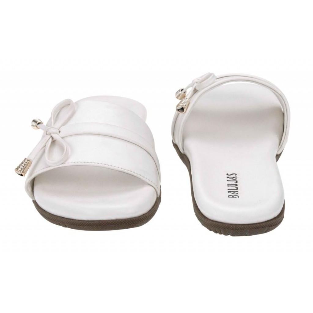 2506-DP : Balujas' White Ladies Flat Chappal