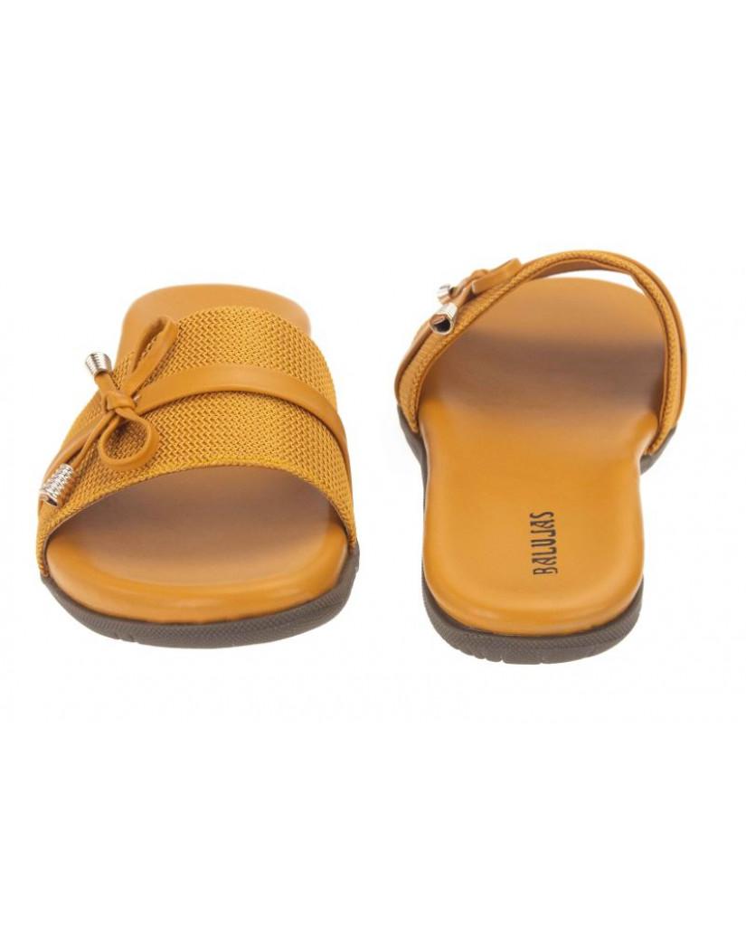 2506-DP : Balujas' Yellow Ladies Flat Chappal