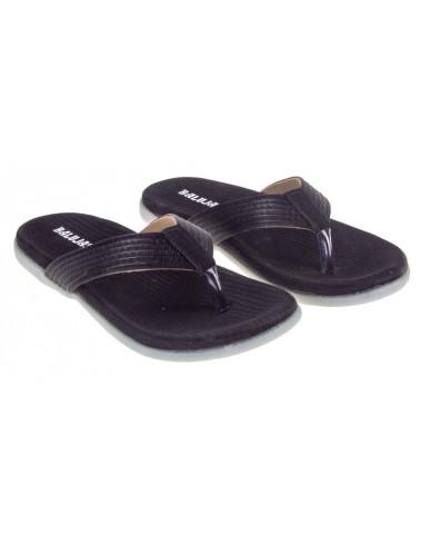 SM-2912 : Balujas Black Flat Ladies Chappal