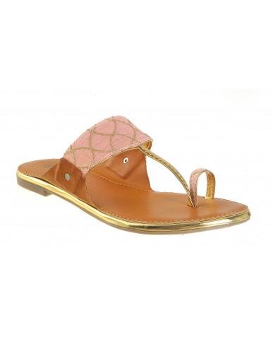 T-374 : Balujas'Taraah' Pink Flat Chappal