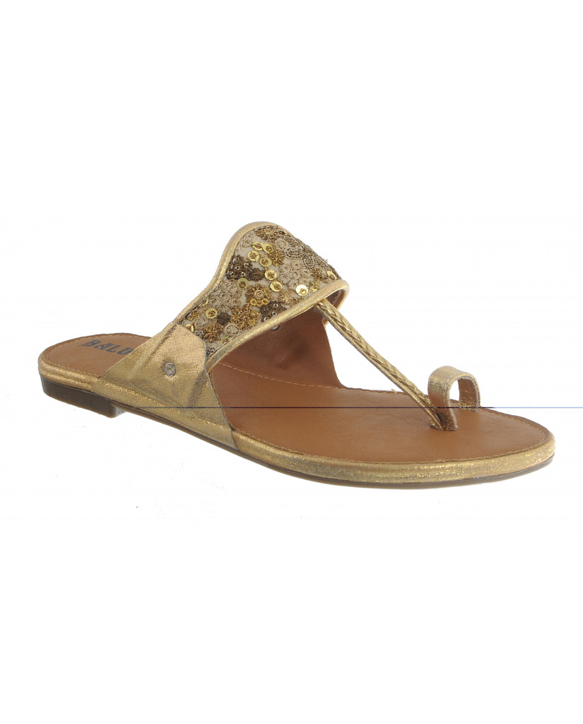 T-646 : Balujas Gold Flat Chappal