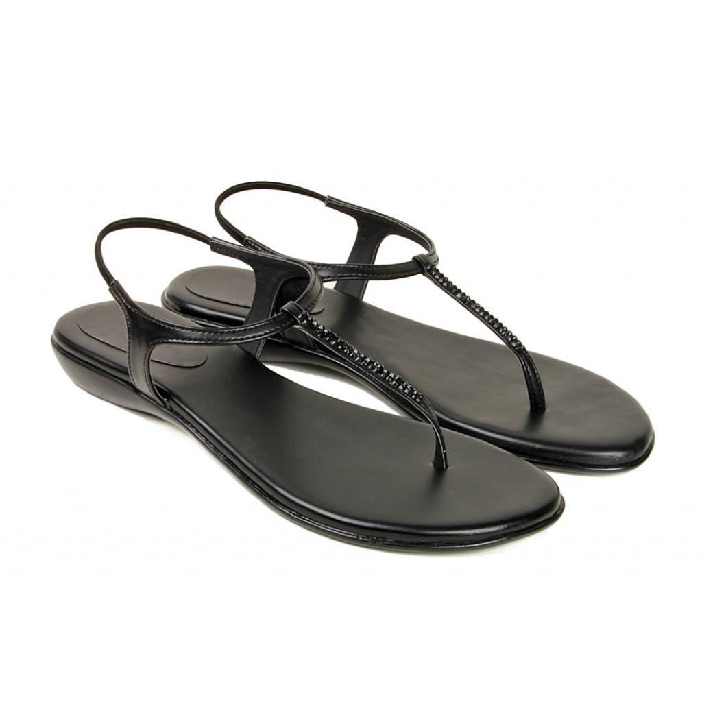 102 : Balujas' Fiona Flat Black Ladies Sandal