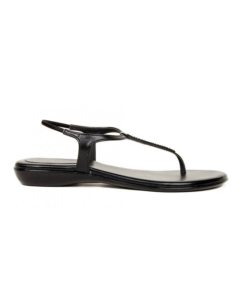 102 : Balujas' Fiona Flat Black Ladies Sandal