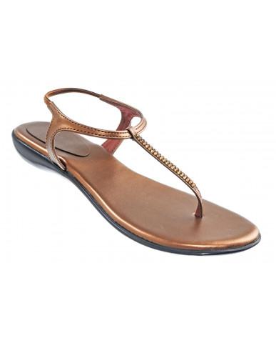 102 : Balujas' Fiona Flat Copper Ladies Sandal