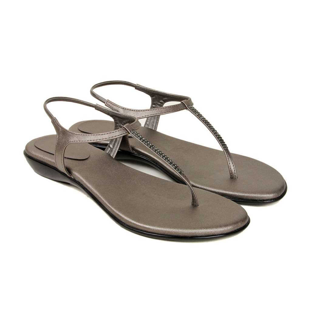102 : Balujas' Fiona Flat Gunmetal Ladies Sandal