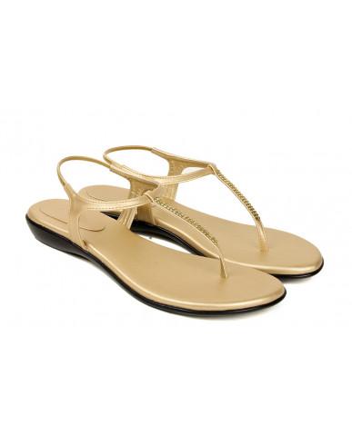 102 : Balujas' Fiona Flat Golden Ladies Sandal