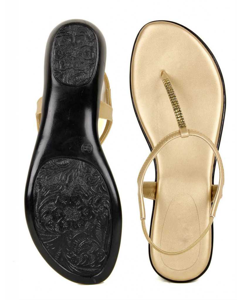 102 : Balujas' Fiona Flat Golden Ladies Sandal
