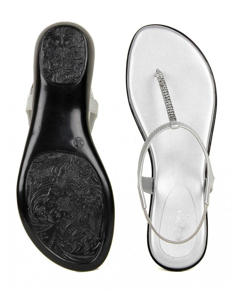 102 : Balujas' Fiona Flat White Ladies Sandal