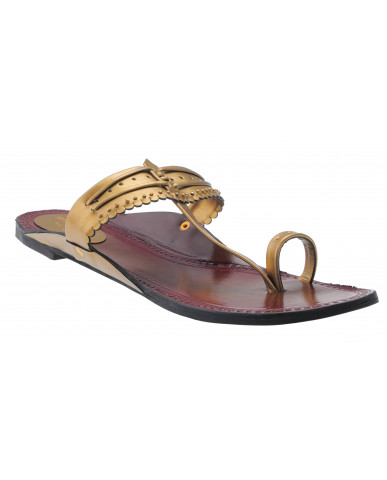 535 : Balujas Gold-Antique Flat Chappal