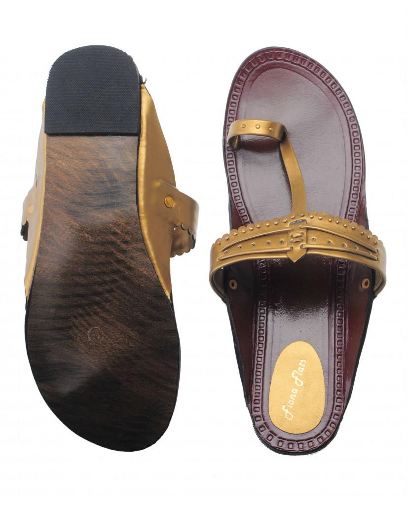 535 : Balujas Gold-Antique Flat Chappal