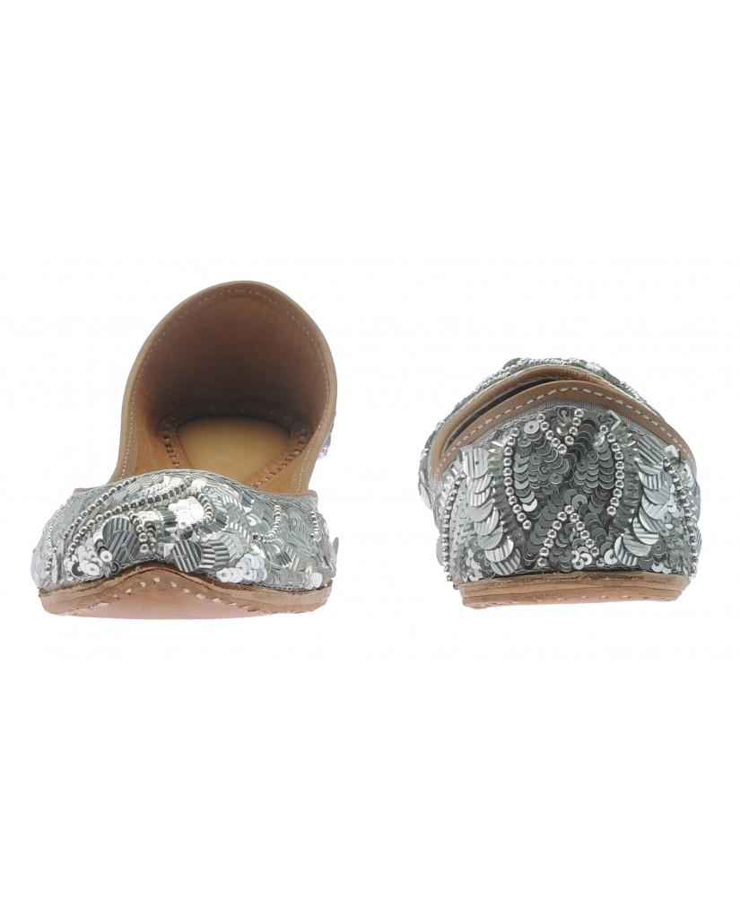 1447 : Balujas' Istanbul Silver Flat Jutti Slip-on